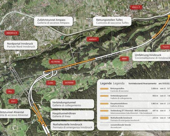 Bau der Überfahrung der Umfahrung Innsbruck