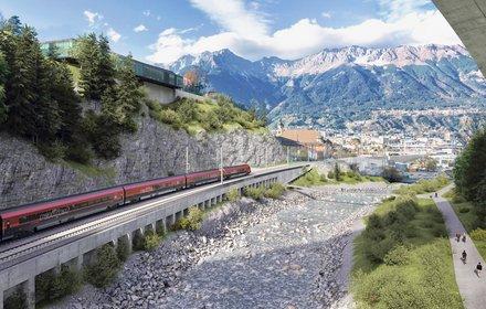 Blick aus der Sillschlucht Richtung Norden/ Stadt Innsbruck und Museum Tirol Panorama