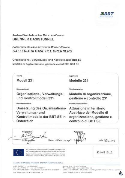 Umsetzung des Organisations-, Verwaltungs- und Kontrollmodells der BBT SE in Österreich