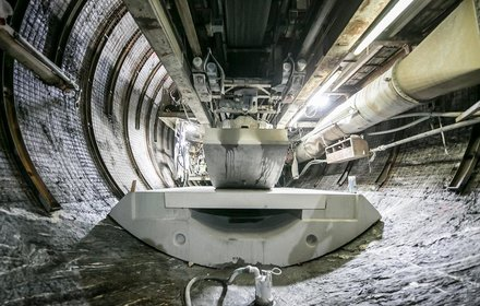Rail-bed slabs being placed by the tunnel boring machine