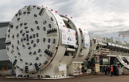 """TBM """"Flavia"""" für einen der beiden Haupttunnel in Richtung Brenner"""