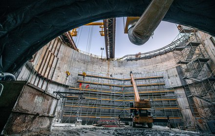 Isarco river underpass: north east shaft - preparation of the portal correcting wall