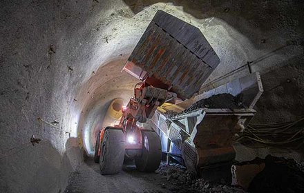 Spoil removal inside the exploratory tunnel