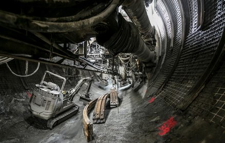 Gripper tunnel boring machine in the exploratory tunnel