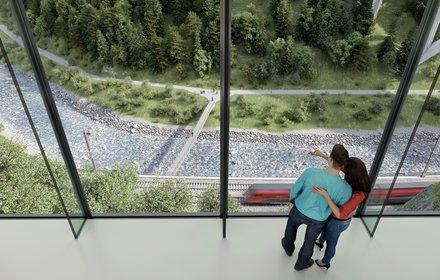 Blick aus dem Museum Tirol Panorama in die Sillschlucht