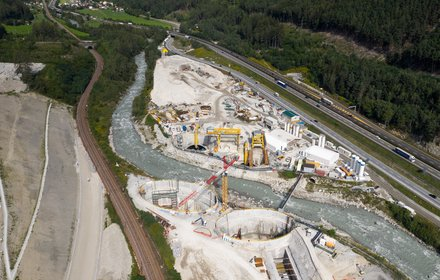 Isarco river underpass construction lot - aerial view