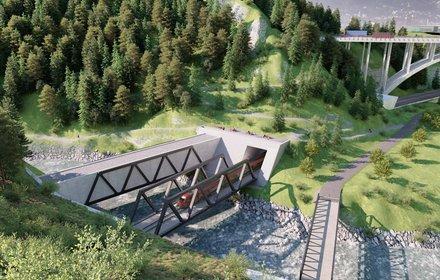 Vista dal monte Viller Berg al di sopra del portale nord della Galleria di Base del Brennero verso il monte Bergisel