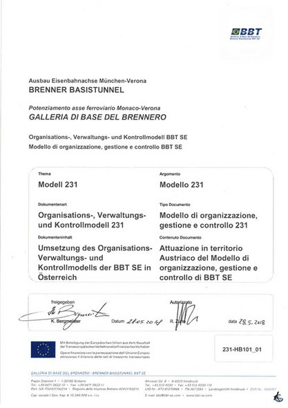Implementation of the organizational, administrative and control model of BBT SE in Austria (in German and Italien)